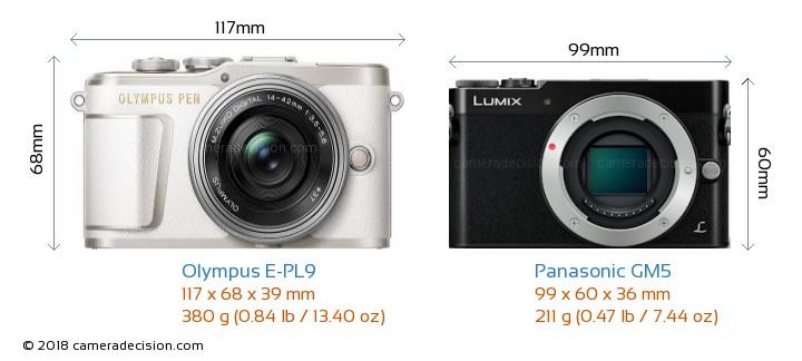 Olympus E-PL9 vs Panasonic GM5 Camera Size Comparison - Front View