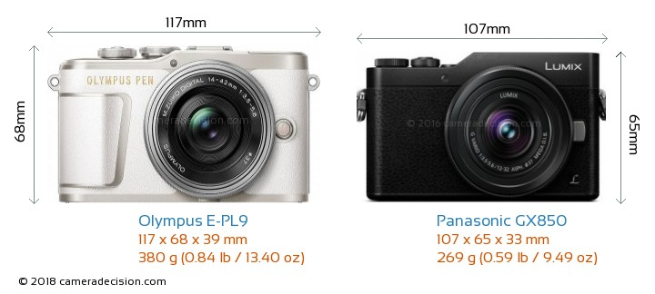 Olympus E-PL9 vs Panasonic GX850 Camera Size Comparison - Front View