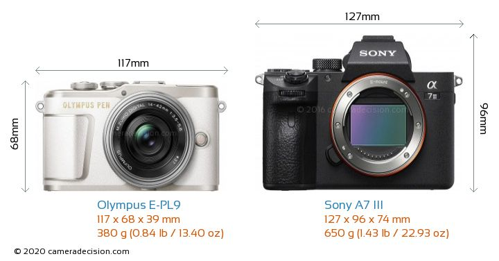 Olympus E-PL9 vs Sony A7 III Camera Size Comparison - Front View