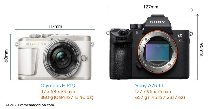Olympus E-PL9 vs Sony A7R III Camera Size Comparison - Front View