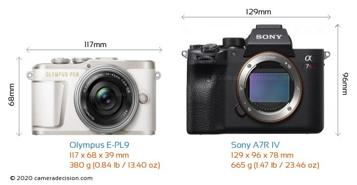 Olympus E-PL9 vs Sony A7R IV Camera Size Comparison - Front View