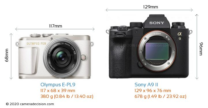Olympus E-PL9 vs Sony A9 II Camera Size Comparison - Front View