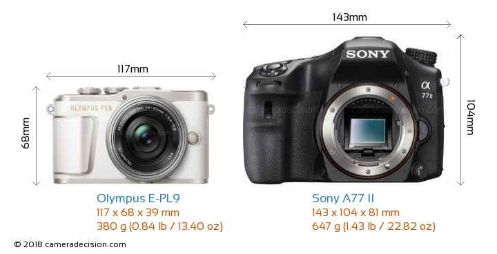 Olympus E-PL9 vs Sony A77 II Camera Size Comparison - Front View