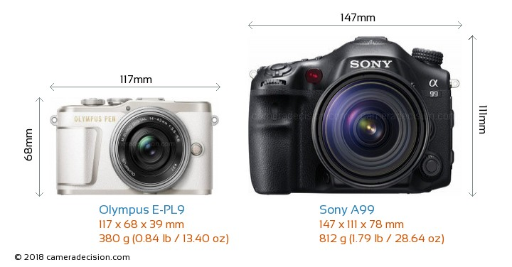 Olympus E-PL9 vs Sony A99 Camera Size Comparison - Front View