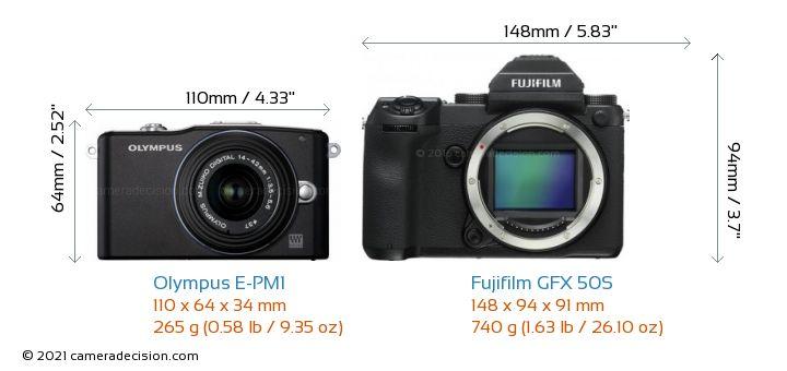 Olympus E-PM1 vs Fujifilm GFX 50S Camera Size Comparison - Front View