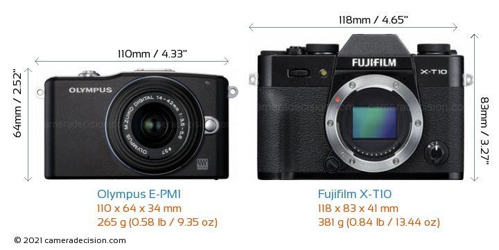 Olympus E-PM1 vs Fujifilm X-T10 Camera Size Comparison - Front View