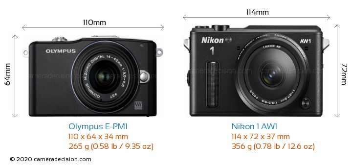 Olympus E-PM1 vs Nikon 1 AW1 Camera Size Comparison - Front View
