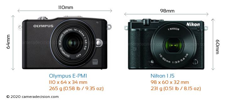 Olympus E-PM1 vs Nikon 1 J5 Camera Size Comparison - Front View
