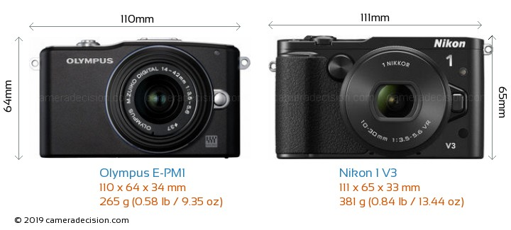 Olympus E-PM1 vs Nikon 1 V3 Camera Size Comparison - Front View