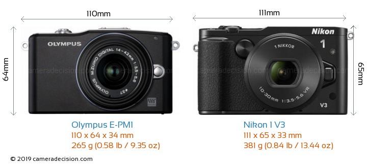 Olympus E-PM1 vs Nikon 1 V3 Camera Size Comparison - Front View