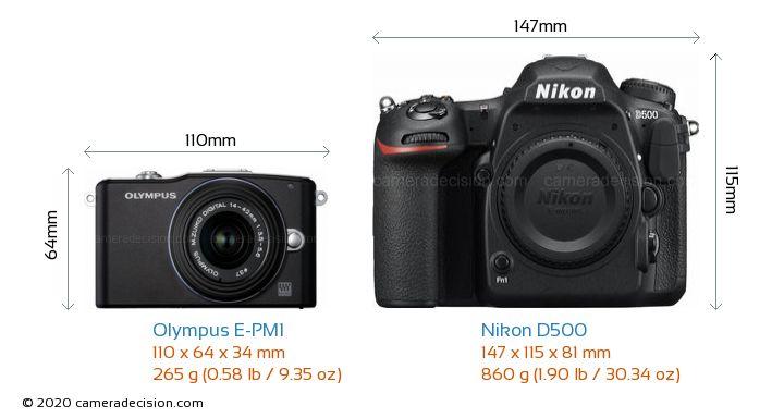 Olympus E-PM1 vs Nikon D500 Camera Size Comparison - Front View