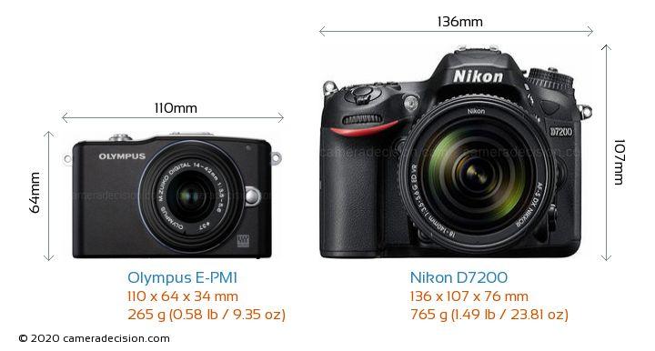 Olympus E-PM1 vs Nikon D7200 Camera Size Comparison - Front View