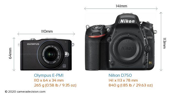Olympus E-PM1 vs Nikon D750 Camera Size Comparison - Front View