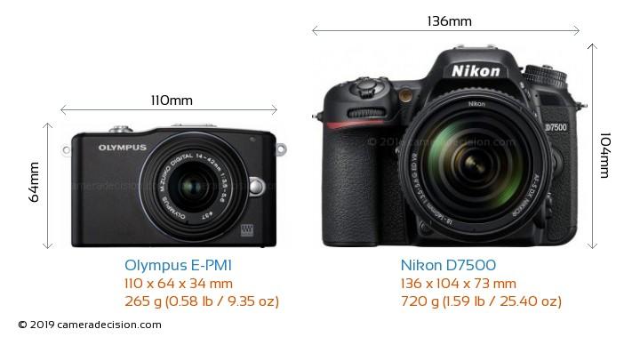 Olympus E-PM1 vs Nikon D7500 Camera Size Comparison - Front View