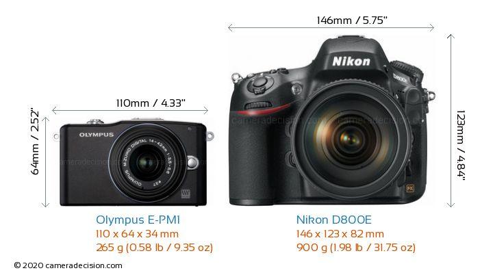 Olympus E-PM1 vs Nikon D800E Camera Size Comparison - Front View