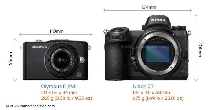 Olympus E-PM1 vs Nikon Z 7 Camera Size Comparison - Front View