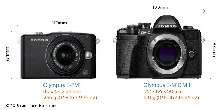 Olympus E-PM1 vs Olympus E-M10 MIII Camera Size Comparison - Front View