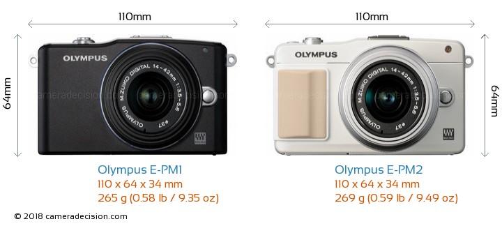 Olympus E-PM1 vs Olympus E-PM2 Camera Size Comparison - Front View