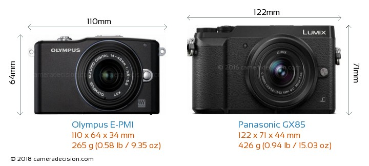 Olympus E-PM1 vs Panasonic GX85 Camera Size Comparison - Front View