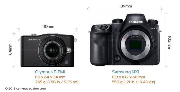 Olympus E-PM1 vs Samsung NX1 Camera Size Comparison - Front View