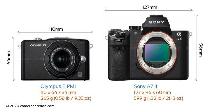 Olympus E-PM1 vs Sony A7 II Camera Size Comparison - Front View