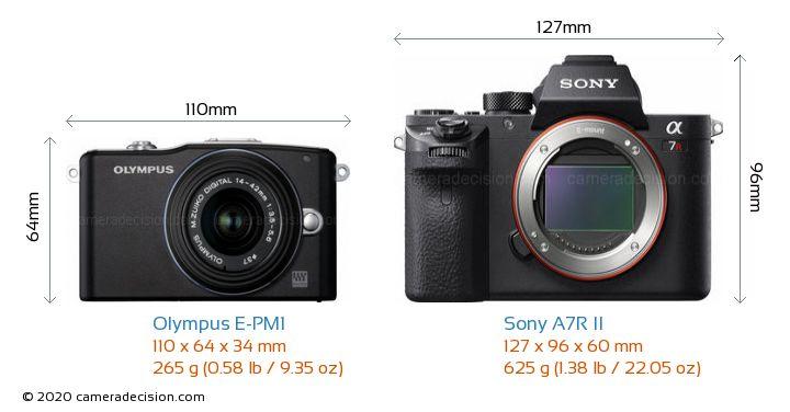 Olympus E-PM1 vs Sony A7R II Camera Size Comparison - Front View