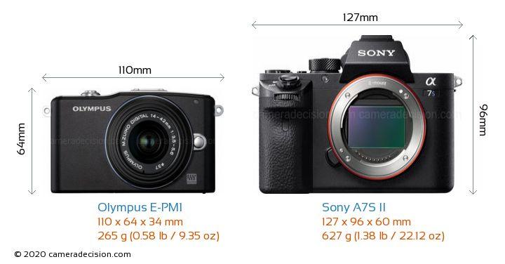 Olympus E-PM1 vs Sony A7S II Camera Size Comparison - Front View