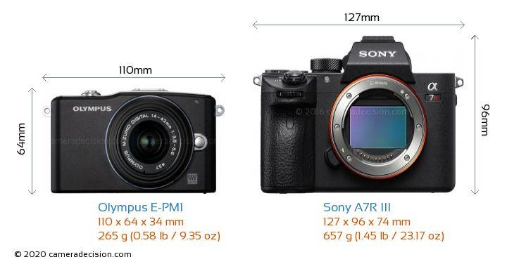 Olympus E-PM1 vs Sony A7R III Camera Size Comparison - Front View