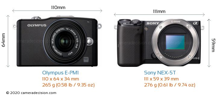 Olympus E-PM1 vs Sony NEX-5T Camera Size Comparison - Front View