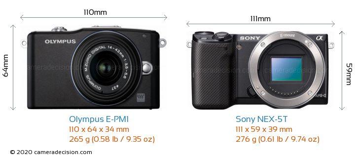 Olympus E-PM1 vs Sony NEX-5T Camera Size Comparison - Front View