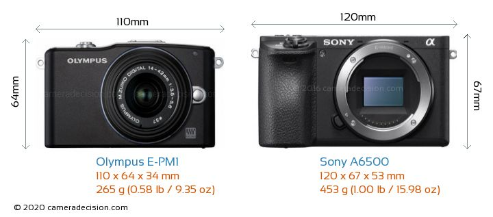 Olympus E-PM1 vs Sony A6500 Camera Size Comparison - Front View
