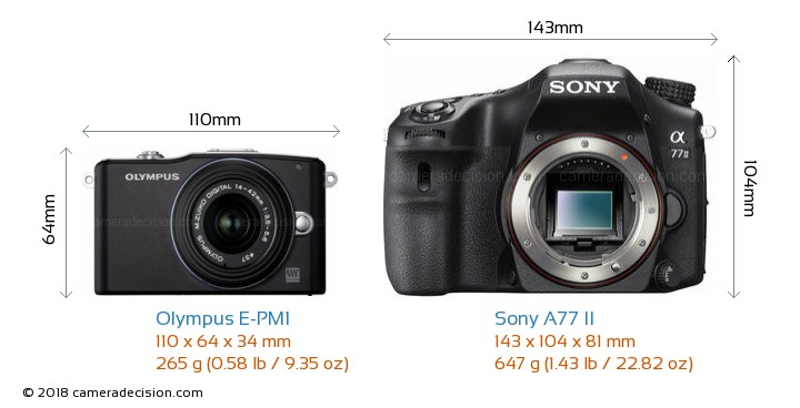 Olympus E-PM1 vs Sony A77 II Camera Size Comparison - Front View