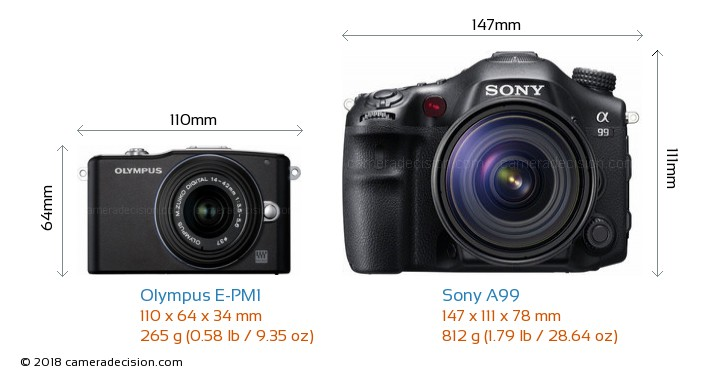 Olympus E-PM1 vs Sony A99 Camera Size Comparison - Front View