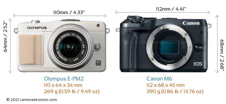 Olympus E-PM2 vs Canon M6 Camera Size Comparison - Front View