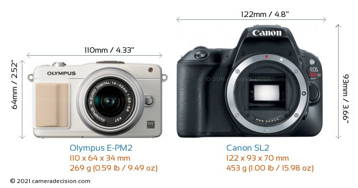 Olympus E-PM2 vs Canon SL2 Camera Size Comparison - Front View