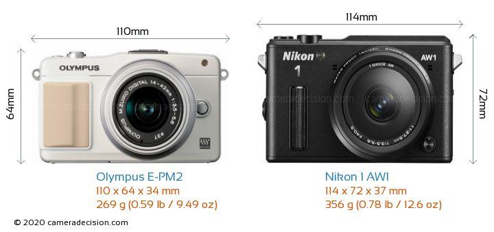 Olympus E-PM2 vs Nikon 1 AW1 Camera Size Comparison - Front View