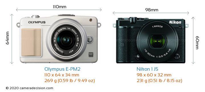 Olympus E-PM2 vs Nikon 1 J5 Camera Size Comparison - Front View