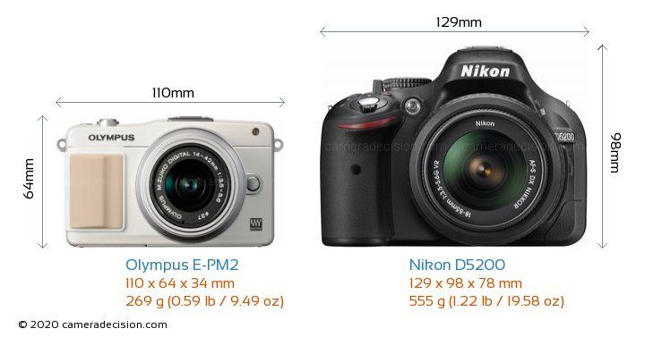 Olympus E-PM2 vs Nikon D5200 Camera Size Comparison - Front View