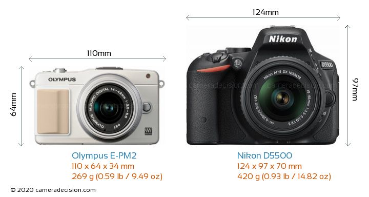 Olympus E-PM2 vs Nikon D5500 Camera Size Comparison - Front View