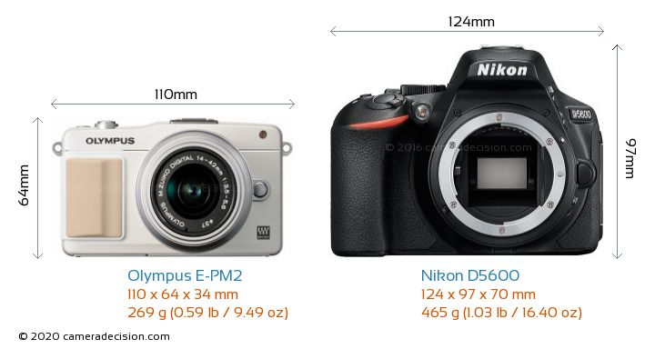 Olympus E-PM2 vs Nikon D5600 Camera Size Comparison - Front View