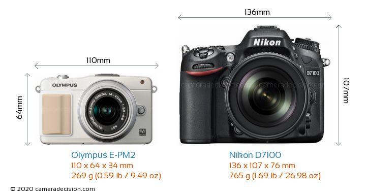 Olympus E-PM2 vs Nikon D7100 Camera Size Comparison - Front View