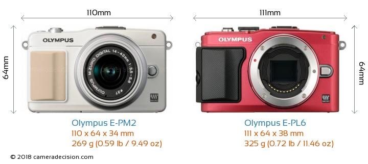 Olympus E-PM2 vs Olympus E-PL6 Camera Size Comparison - Front View