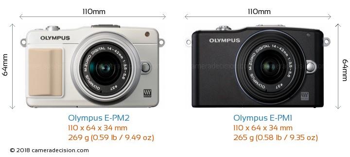Olympus E-PM2 vs Olympus E-PM1 Camera Size Comparison - Front View
