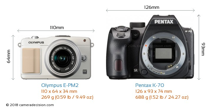 Olympus E-PM2 vs Pentax K-70 Camera Size Comparison - Front View