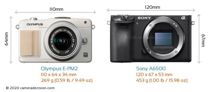 Olympus E-PM2 vs Sony A6500 Camera Size Comparison - Front View
