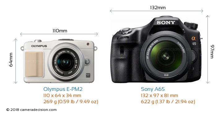 Olympus E-PM2 vs Sony A65 Camera Size Comparison - Front View