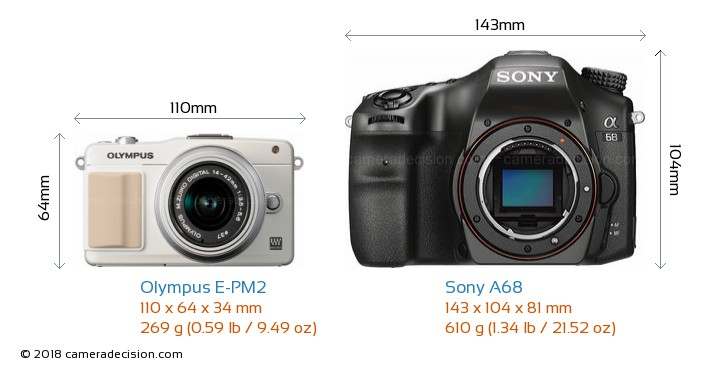 Olympus E-PM2 vs Sony A68 Camera Size Comparison - Front View