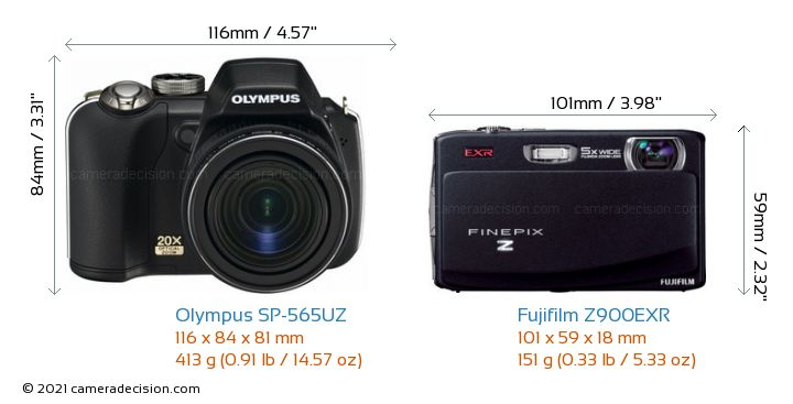 Olympus SP-565UZ vs Fujifilm Z900EXR Camera Size Comparison - Front View