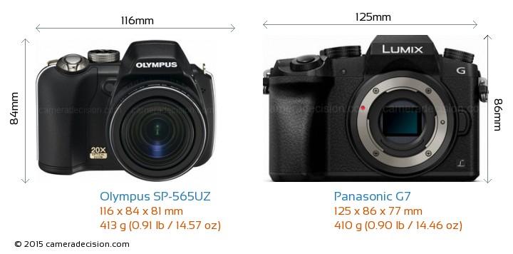 Olympus SP-565UZ vs Panasonic G7 Camera Size Comparison - Front View