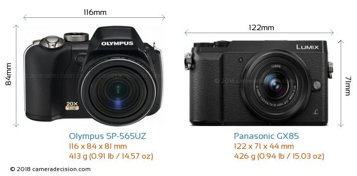Olympus SP-565UZ vs Panasonic GX85 Camera Size Comparison - Front View